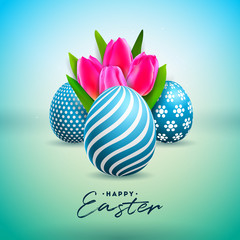 Vector Illustration of Happy Easter Holiday with Painted Egg and Tulip Flower on Shiny Green Background. International Celebration Design with Typography for Greeting Card, Party Invitation or Promo
