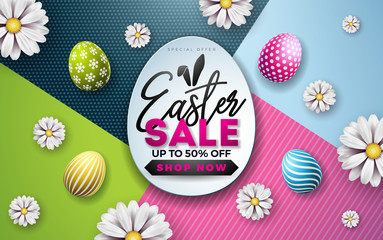 Easter Sale Illustration with Color Painted Egg, Spring Flower and Rabbit Ears on Colorful Background. Vector Holiday Design Template for Coupon, Banner, Voucher or Promotional Poster.