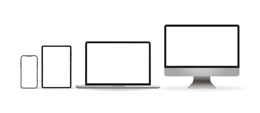 Laptop realistic. Device in mockup style. Set realistic vector devices on a white background. vector