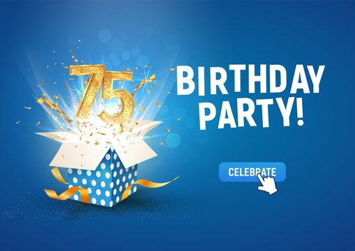 75 th years anniversary banner with open burst gift box. Template seventy five birthday celebration and abstract text on blue background vector Illustration