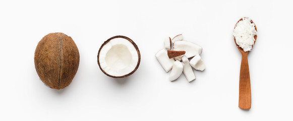 Coconuts composition on white