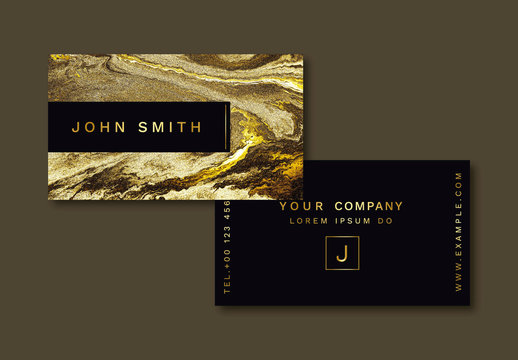 Business Card Layout  with Gold Elements