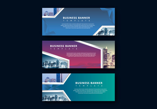 Web Banner Layouts with Geometric Photo Placeholders