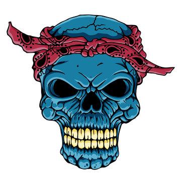 skull head with bandana - hand drawn