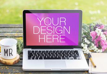 Laptop on Desk Mockup