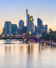 Fototapete - illuminated Frankfurt downtown, Germany