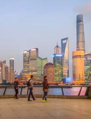 Fototapete - illuminated evening Shanghai cityscape view