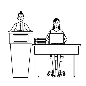 women in a podium and office desk black and white