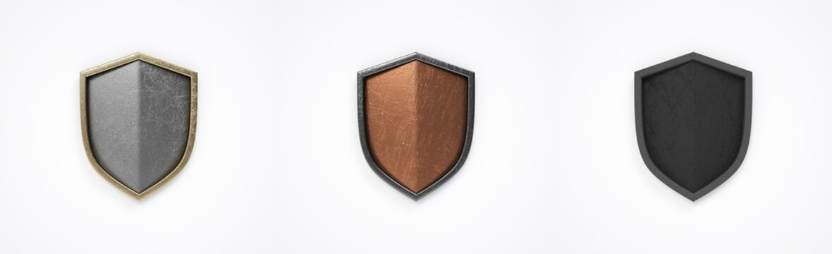 Heraldic shield pack of metal, empty shield.