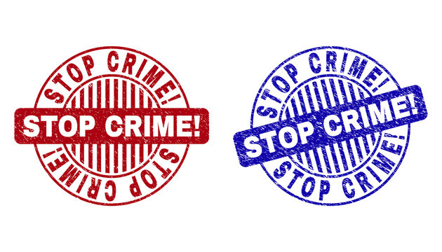 Grunge STOP CRIME! round stamp seals isolated on a white background. Round seals with grunge texture in red and blue colors. Vector rubber watermark of STOP CRIME! tag inside circle form with stripes.