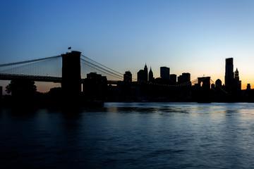 Manhattan and The Brooklyn Bridge Silhouette - NYC
