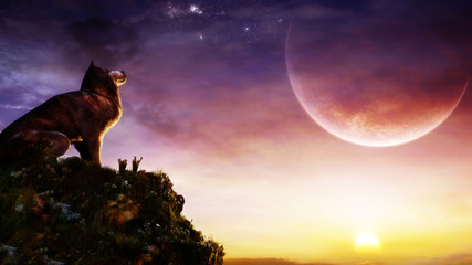 concept wolf howling at the giant moon in epic sunset sky