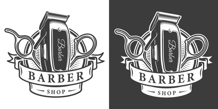 Vintage barbershop monochrome badge