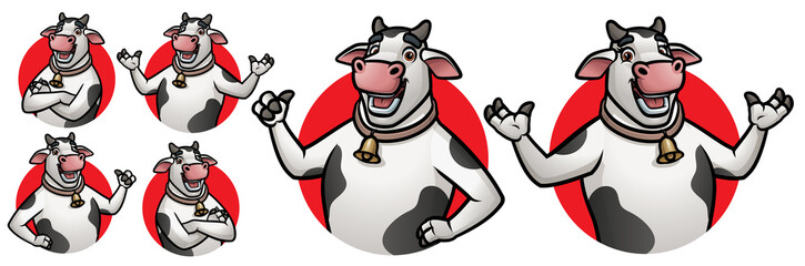 Cartoon Cow Mascot (Male & Female) for Logo with 6 poses_EPS 10 Vector