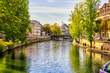 walk through Strasbourg, a city with canal, in France Wall mural