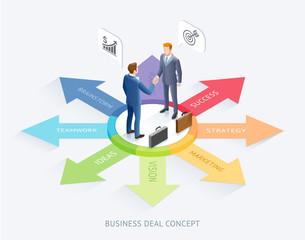 Business partnership conceptual design. Businessman handshake together on top arrow infographics background..