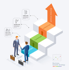 Business partnership conceptual design. Businessman handshake together In front of the stairs with arrow infographics diagram graphic template background.