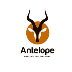 Artistic stylized Impala logotype. Antelope silhouette wild animals. Creative art logo design