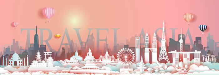 Wall Mural - Travel landmark Asia with downtown cityscape skyline and asean tourism.