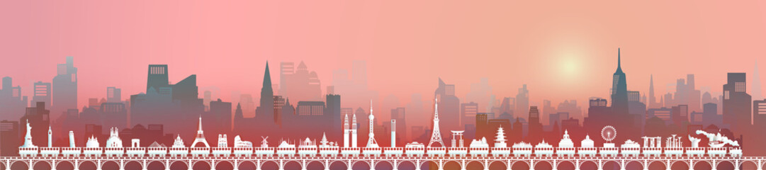 Travel world landmarks downtown of skyline with city background.