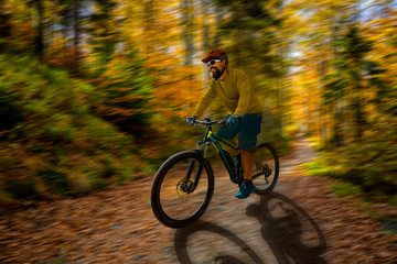 Mountain biker riding on bike in spring mountains forest landscape. Man cycling MTB enduro flow trail track. Outdoor sport activity. Motion Blur picture.
