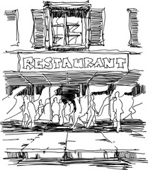hand drawn sketch of entrance to a restaurant situated on the street with lots of people walking on pavement and into the building