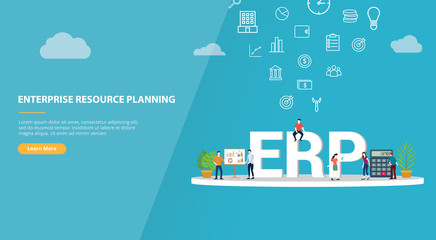 erp enterprise resource planning concept for website template banner or landing homepage - vector