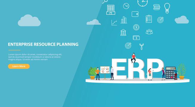 erp enterprise resource planning concept for website template banner or landing homepage - vector