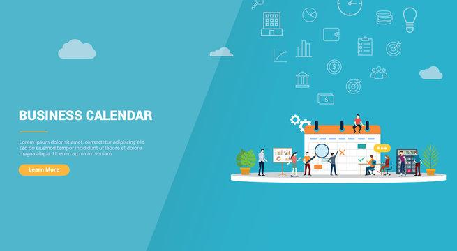 business calendar concept for website template banner or landing homepage - vector