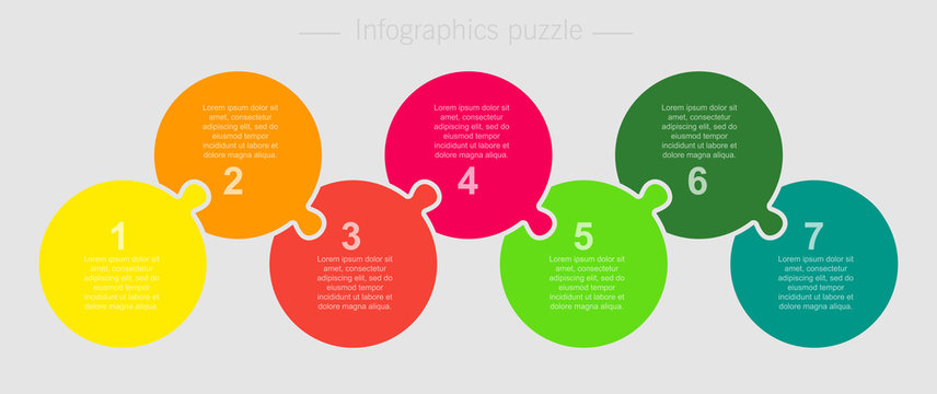 Vector jigsaw puzzle circle info graphic 7 steps.