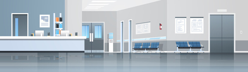 Fototapeta hospital reception waiting hall with counter seats doors and elevator empty no people medical clinic interior horizontal banner panorama flat obraz