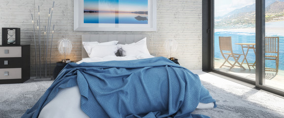 Bedroom with Sea View by Daylight (panoramic) - 3d visualization