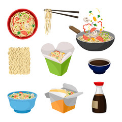 Noodles traditional oriental food. Vector flat illustration.