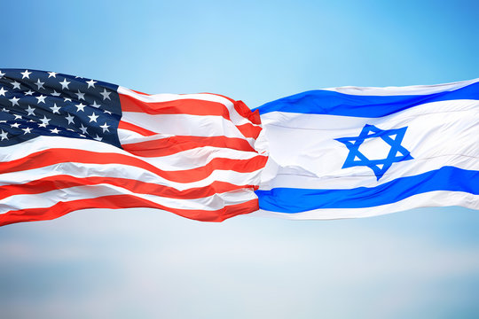 Flags of the USA and Israel