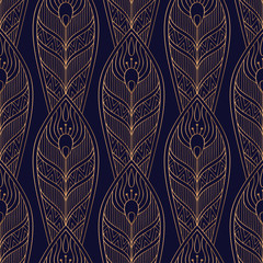 Peacock feathers royal pattern seamless. Luxury background vector. Golden design for wallpaper, birthday gift wrapping paper, beauty spa salon, indian wedding party, holiday christmas card.
