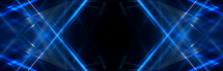 Tunnel in blue neon light, underground passage. Abstract blue background. Background of an empty black corridor with neon blue light. Abstract background with lines and glow, rays and symmetrical refl