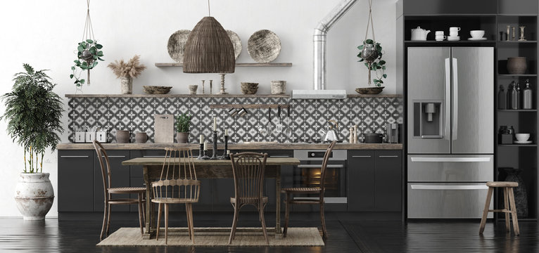Ethnic kitchen interior, panoramic view, 3d render