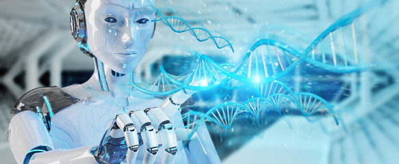 White woman cyborg scanning human DNA 3D rendering