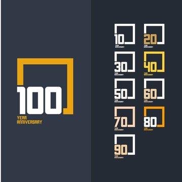 100 Year Anniversary Set Vector Template Design Illustration100 Year Anniversary Set 10 20 30 40 50 60 70 80 90 Vector Template Design Illustration