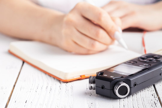 Voice recorder using as a tool for taking notes in high school or university