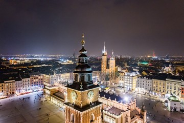Foto op Plexiglas Krakau Aerial drone view Cracow old town and city main square at night.