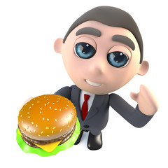 Funny cartoon 3d businessman character holding a cheese burger snack