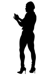 Young woman with smartphone on a white backgroun