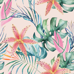 Tropical seamless pattern with orchids and leaves. Watercolor summer print. Exotic floral  hand drawn illustration
