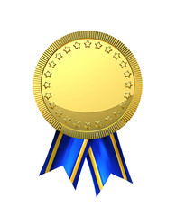 Golden medal with ribbons isolated on white