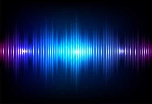 Wave sound neon vector background. Music flow soundwave design, light bright blue elements isolated on dark backdrop. Radio beat frequency consist of lines
