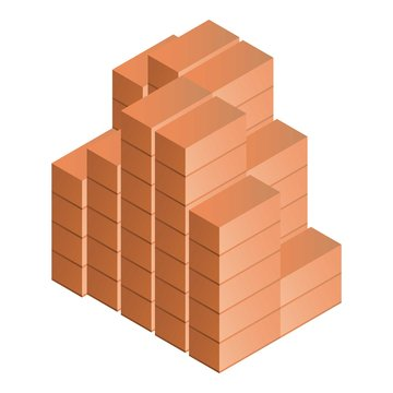 Stack of brick icon. Isometric of stack of brick vector icon for web design isolated on white background
