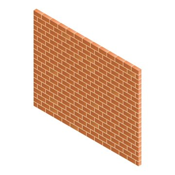 Brick wall icon. Isometric of brick wall vector icon for web design isolated on white background