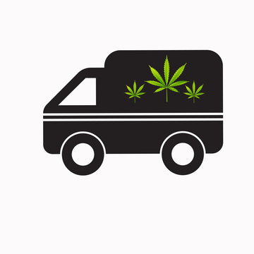 Delivery cannabis. Illustration of a delivery truck icon with a marijuana leaf. Drug consumption Marijuana Legalization.