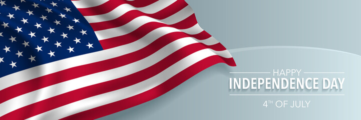 USA happy independence day greeting card, banner, horizontal vector illustration
